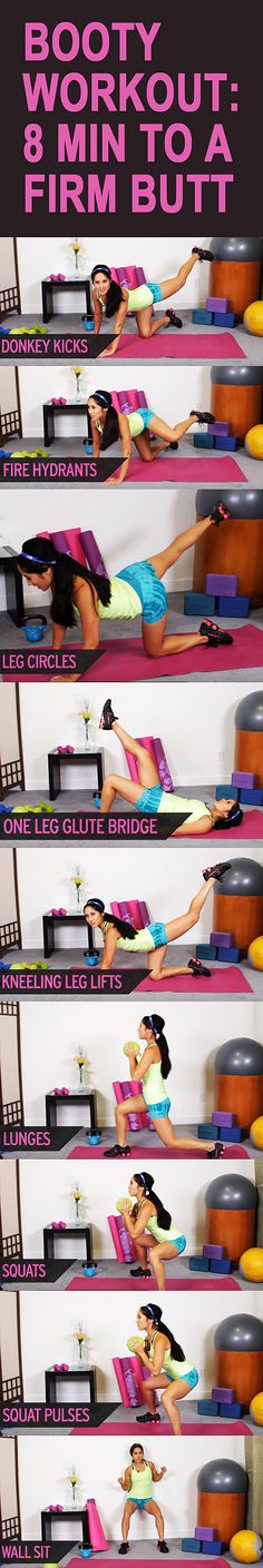 Booty workout: 8 minutes to a FIRM BUTT. Learn how to tighten and firm your butt to get that round booty we all want! #buttworkout #tonedbum #tonedglutes #gluteworkout #thighworkout #buttexercise #thighexercise