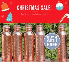 Celebrate Christmas with family and friends before the big day! Our Pre-Christmas Celebration Offer includes Copper Water Bottle,Copper jugs, copper tumblers, copper water dispensers.