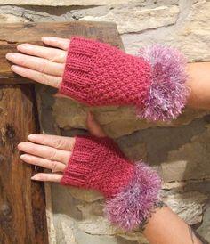 Fingerless gloves fingerless mittens pink fingerless by WoolieBits