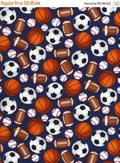 Mixed Sports Balls Fabric / Soccer, Football, Baseball / Timeless Treasures Mixed Balls by the yard / Fat Quarters and Yardage by SewWhatQuiltShop on Etsy Preschool Nap Mats, Kids Nap Mats, Toddler Nap Mat, Blue Football, Football Soccer, Basketball, Nap Mat Covers, Pillow Covers, Hook And Loop Tape