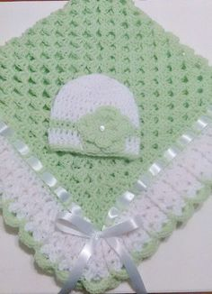 Crochet Baby Blanket Set, Baby Beanie Hat, Lt Green, White, Baby Girls