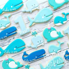 "163 Likes, 11 Comments - Banana Bakery (@bananabakery_cookies) on Instagram: ""Cookies for baby boy's first birthday party I guess I really like whales because I have so many…"""