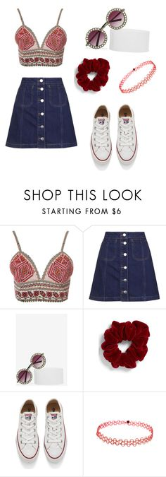 """""""Untitled #275"""" by melissa-klink ❤ liked on Polyvore featuring Glamorous, Topshop, Fantas-Eyes, L. Erickson, Converse, women's clothing, women, female, woman and misses"""