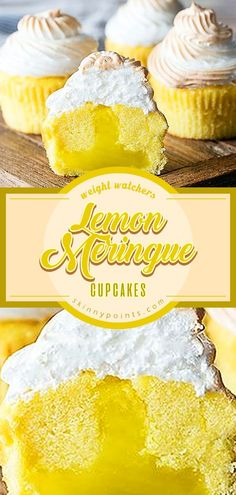 Lemon Meringue Cupcakes Very nice Cake Recipes ! Lemon Desserts, Lemon Recipes, Just Desserts, Baking Recipes, Delicious Desserts, Yummy Food, Cupcake Recipes, Cupcake Cakes, Dessert Recipes