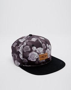 758a288137a ASOS Snapback Cap In Black With Floral Print at asos.com