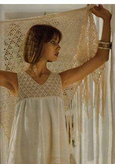 Vintage 1970s Crochet & Dressmaking Pdf Pattern- ELEGANT LACY DRESS and shawl/wrap Instant Download Pdf from GrannyTakesATrip 0071