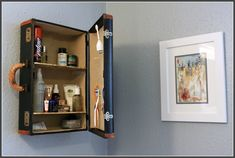 Turn old suitcases into Wall Shelving #OldSuitcases #DIYWallShelving
