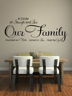 Wall decals quotes A circle of strength and love by StyleAwall & Family Last Name Monogram Personalized Custom Wall Decal Sticker ...