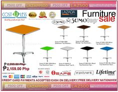 Let's Enjoy the Summer while relaxing to these awesome Aluminum Square Table Top Furniture. Get 28% Off Discount when you buy these Aluminum SquareTable @ Lazada Online Shop. It's Free Delivery Anywhere in the Philippines! Credit Card Payments Accepted & Cash On Delivery!  Check the complete table sets here: http://www.lazada.com.ph/catalog/?q=AT-60S