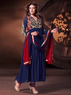 Navy Blue Georgette Anarkali Suit With Embroidery Work