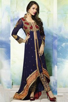 Midnight Blue Faux Georgette Embroidered Party Lawn Kameez