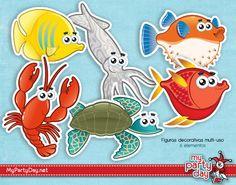 Printable's designs for a under the sea party / Diseño de Imprimibles para una fiesta bajo el mar Fish Crafts, Ideas Para Fiestas, Birthdays, Scrapbooking, Paper Crafts, Printables, School, Art, Under The Sea