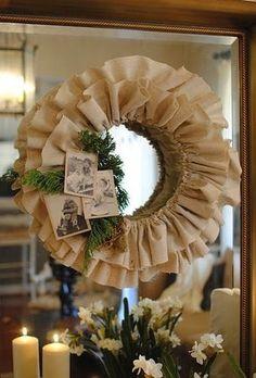 DIY Burlap Wreath via The Inspired Room #Christmas Love the old photos