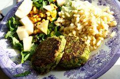 Gröna ärtbiffar med ingefära & vitlök