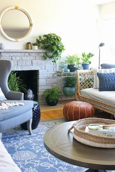 Living Room with Rattan Daybed - The Inspired Room blog