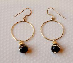 Hoop Earrings, Rhinestone Embedded Onyx Bead Earrings,  Silver Earrings,Silver Hoop Earrings,Hoop Earrings with Beads,Bead Earrings by SunMoonJewels on Etsy