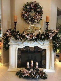 Set Of 3 Pc Christmas Decor Stunning Icy Pink Decor Free Etsy Diy Christmas Fireplace, Christmas Mantels, Gold Christmas, Christmas Home, Christmas Wreaths, Fireplace Ideas, Christmas Staircase Decor, Fireplace Furniture, Christmas Trends