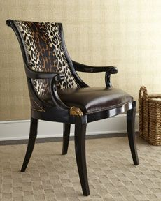 Shop For Aubergine Finished Armchair, Bentley Black Leather And Leopard  Hair Hide Upholstery, CDS84EED, And Other Dining Room Chairs At Colorado U2026