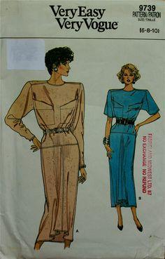 1980s Dress Shaped Front Hemline Vogue Pattern by patterntreasury