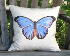 Blue Butterfly Pillow  Cottage Butterfly Pillow Cover by artanlei, $35.00