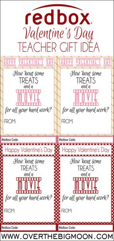 Redbox Valentine's Day Teacher Gift | Over the Big Moon