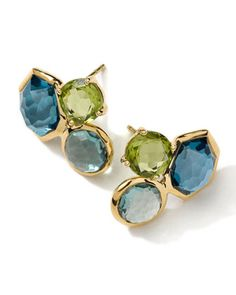 18k Gold Rock Candy Gelato 3-Stone Stud Earrings by Ippolita at Neiman Marcus.