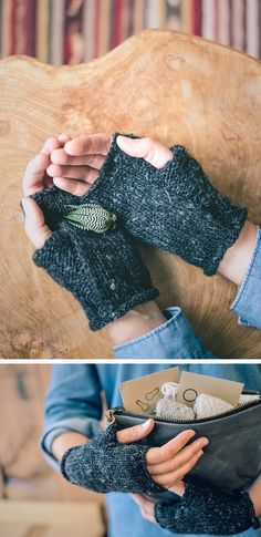 I really like how the thumb is purl while the rest of the glove are knits | Wabi Mitts free knitting pattern