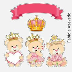 Teddy Bear Princess in Pink Free Printable Cake Toppers. Scrapbook Bebe, Scrapbook Stickers, Planner Stickers, Angel Kids, Teddy Bear Party, Kids Stickers, Baby Design, Digital Stamps, Kids Cards