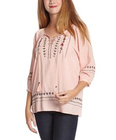 This Coral Lace-Up Peasant Top - Women by Simply Irresistible is perfect! #zulilyfinds