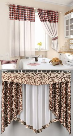 There are various types of curtains with various concepts, for instance in this picture you can make your favorite kitchen area curtains window curtains curtains curtains inspirations curtains ideas Discover more about : blackout noise reduction curtains Cute Curtains, No Sew Curtains, Curtains With Blinds, Window Curtains, Room Window, Valance, Short Curtains, Kitchen Curtain Designs, Country Kitchen Curtains