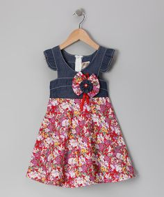 Take a look at this Denim & Red Floral Angel-Sleeve Dress - Toddler & Girls by Lele Vintage on #zulily today!