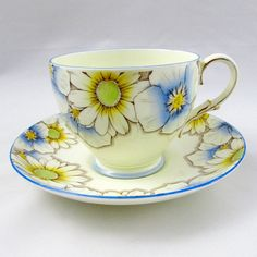 Paragon Tea Cup and Saucer with Hand Painted Blue Flowers, Vintage English Bone China