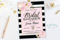 Bridal Shower Invitation, Floral Black & White Stripe Bridal Shower Invite, Pink and Gold Glitter Bridal Shower, Chanel Inspired, Printable