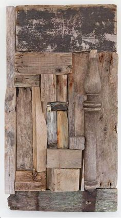 Artist Nina Samoiloff from Rockport, MA must spend a lot of time walking around the beach.  She collects wood and plastic that she finds on the beaches of Cape Ann to later turn into these beautiful works of art.