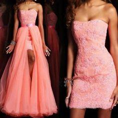 Elegant appliqued Prom Dress With Detachable Skirt