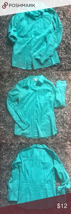 Long sleeve semi-sheer button up shirt Dalia Collection long sleeve semi-sheer button up shirt in teal. Shirt is more green than it appears in the pics. It's a gorgeous blue-green color perfect for breezy summer days! Sleeves have a button tab to secure if you roll them up. EUC Dalia Collection Tops Button Down Shirts