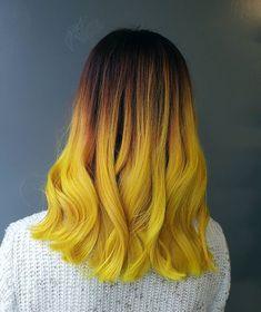 Experimenting with hair is always fun. Yellow hair color dye trendy colorful hair short hair new bold different Yellow Hair Dye, Hair Dye Colors, Cool Hair Color, Hair Orange, Purple Hair, Dye My Hair, Dip Dye Hair, Ombre Hair, Blonde Hair