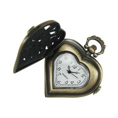 Cheap Antiqued Brass Steampunk Heart Shaped Pocket Watch With Filigree... ❤ liked on Polyvore featuring jewelry, watches, steampunk watches, steampunk wrist watch, pocket watch, steam punk watches and steam punk pocket watches