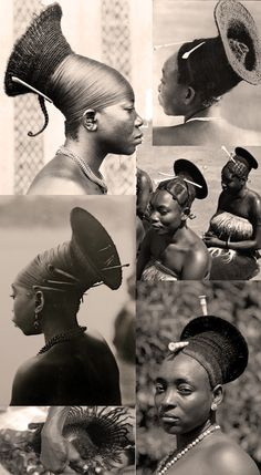 Central Africa | Vintage photographic prints of the elaborate hairstyles worn by the Mangbetu women of the Congo