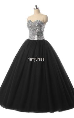 Black Ball Gown Sweetheart Tulle Sequined Floor Length Crystal Quinceanera Dress