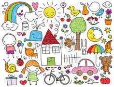 Raccolta di disegni svegli dei bambini di bambini, animali, natura, oggetti Archivio Fotografico - 29462393