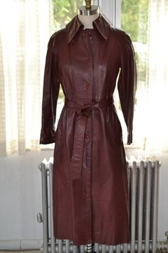 Beged Or Vintage Oxblood Burgundy Leather Duster Trenchcoat Button Front Waist Tie Full Acetate Lining 40 6 8 Gorgeous Red Leather Trench - Google Search
