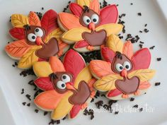 Silly Turkey Cookies tutorial  - SugarEd Productions
