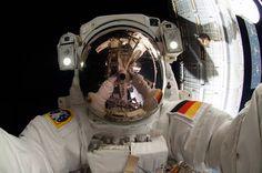 "Oct 7, 2014 space ""selfie"" taken during an EVA at the Station by European astronaut Alexander Gerst."