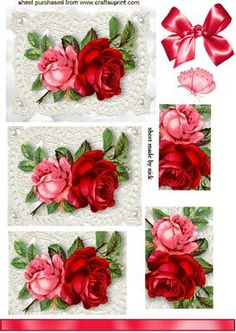 RED ROSES ON ECRU LACE WITH PEARLS PYRAMIDS on Craftsuprint - Add To Basket!
