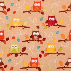 light brown Harvest Friends owl fabric Riley Blake Happy Harvest