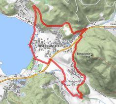 Ortsumwanderung Fuschl am See - BERGFEX - Wanderung - Tour Salzburger Land Der Bus, Map, Central Station, Tourism, Tours, Hiking, Location Map, Maps