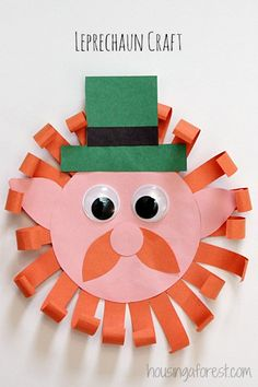 St. Patrick's Day Leprechaun Craft ~ Simple Paper craft for #children (pinned by Super Simple Songs) #educational #resources #StPatricksDay