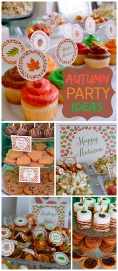 An autumn leaf themed Thanksgiving party in red, orange, green and brown! See more party planning ideas at CatchMyParty.com!