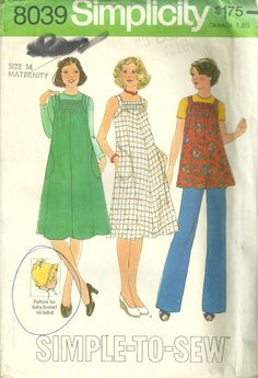 Simplicity 8039 Misses Easy Pullover Maternity Dress Top and Baby Bonnet Vintage Sewing Pattern by mbchills